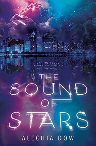 Cover of THE SOUND OF STARS by Alechia Dow. A galaxy of cool blues and vibrant purples surrounding a disintegrating city skyline.