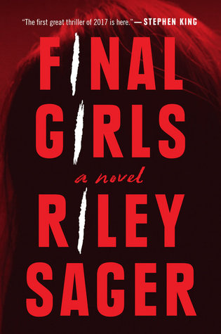 Cover of FINAL GIRLS by Riley Sager. Blood red tones over a faded silhouette of a woman's headshot. All that's visible of this person is their hair.
